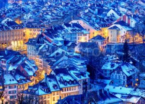 Bern Old Town snow covered in winter, Switzerland - GlobePhotos - royalty free stock images
