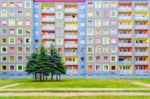 Facade of the modern colorful multi-storey house - GlobePhotos - royalty free stock images