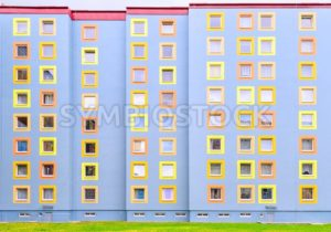 Facade of the modern colorful multistory house - GlobePhotos - royalty free stock images