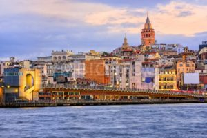 Galata tower and Golden Horn on sunrise, Istanbul, Turkey - GlobePhotos - royalty free stock images