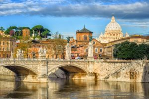 Tiber bridge and Dome of Vatican cathedral, Rome, Italy - GlobePhotos - royalty free stock images