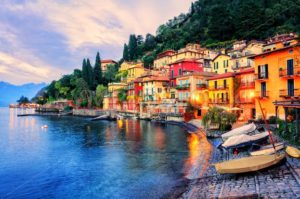 Town of Menaggio on sunset, Lake Como, Milan, Italy - GlobePhotos - royalty free stock images
