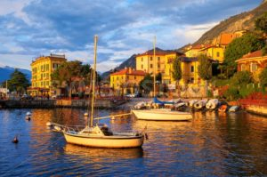 Yachts in a harbour on Lake Como, Italy, on sunset - GlobePhotos - royalty free stock images