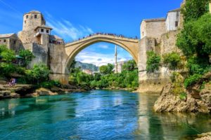 Old Bridge and Mosque in the Old Town of Mostar, Bosnia - GlobePhotos - royalty free stock images