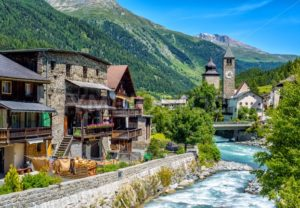 Swiss village in Alps mountains, Grisons, Switzerland - GlobePhotos - royalty free stock images