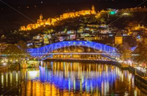 Tbilisi, Georgia, the Old Town and Europe Bridge at night - GlobePhotos - royalty free stock images