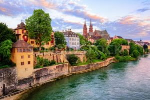Basel Old Town with Munster cathedral and Rhine, Switzerland - GlobePhotos - royalty free stock images
