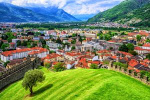 Bellinzona Old Town in Alps Mountains, Switzerland - GlobePhotos - royalty free stock images