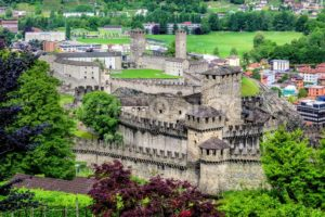 Bellinzona city center with two castles, Switzerland - GlobePhotos - royalty free stock images
