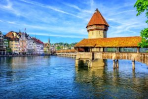 Chapel Bridge in Lucerne Old Town, Switzerland - GlobePhotos - royalty free stock images