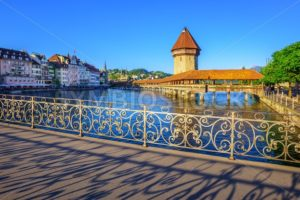 Chapel bridge and Old Town, Lucerne, Switzerland - GlobePhotos - royalty free stock images