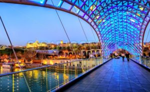 Peace Bridge and President Palace in Tbilisi, Georgia - GlobePhotos - royalty free stock images