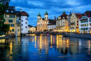 Historical Old Town of Lucerne, Switzerland, at night - GlobePhotos - royalty free stock images