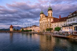Medieval Old Town of Lucerne on sunset, Switzerland - GlobePhotos - royalty free stock images