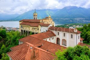 Red roofs of Madonna del Sasso Church, Locarno, Switzerland - GlobePhotos - royalty free stock images