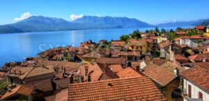 Red tiled roofs of Cannero old town, Lago Maggiore, Italy - GlobePhotos - royalty free stock images