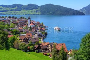 Swiss landscape with Lake Lucerne and Alps Mountains, Switzerland - GlobePhotos - royalty free stock images