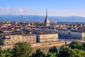 Cityscape of Turin and Alps mountains, Turin, Italy - GlobePhotos - royalty free stock images