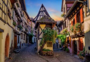 Colorful half-timbered houses in Eguisheim, Alsace, France - GlobePhotos - royalty free stock images