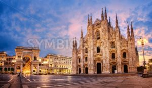 Milan Cathedral on sunrise, Italy - GlobePhotos - royalty free stock images
