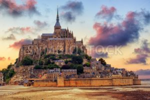 Mont Saint Michel island, Normandy, France, on sunset - GlobePhotos - royalty free stock images