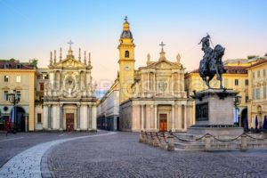 Piazza San Carlo and twin churches in the city center of Turin, Italy - GlobePhotos - royalty free stock images