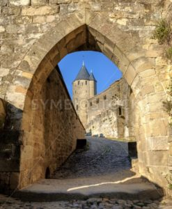 Medieval walls and towers of Carcassonne, Languedoc, France - GlobePhotos - royalty free stock images