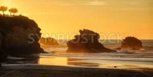Sunset on the Grande Plage beach, Biarritz, France - GlobePhotos - royalty free stock images