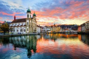 Sunset over the old town of Lucerne, Switzerland - GlobePhotos - royalty free stock images