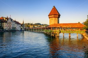 Chapel Bridge in the Old Town of Lucerne, Switzerland - GlobePhotos - royalty free stock images
