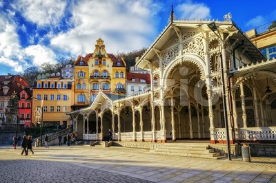 Carlsbad, the famous spa city in western Bohemia, very popular tourist destination in Czech Republic Stock Photo