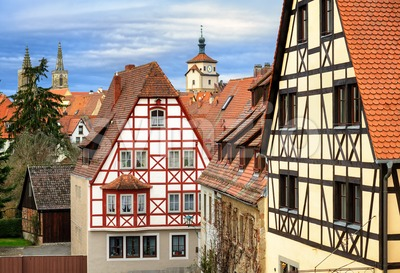 Traditional red tile roofs and half-timbered houses in Rothenburg ob der Tauber, Germany Stock Photo