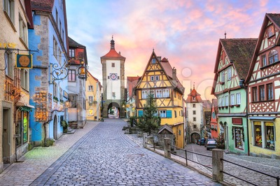 Colorful half-timbered houses in Rothenburg ob der Tauber, Germany Stock Photo