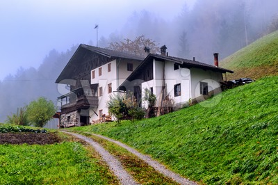 Traditional wooden house in Tyrol, Austria Stock Photo