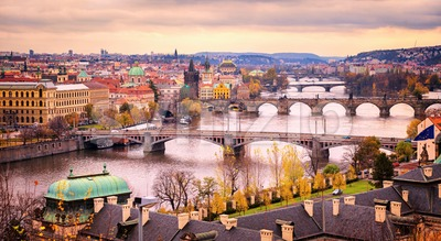 Prague bridge panorama in sunset light, Czech Republic Stock Photo