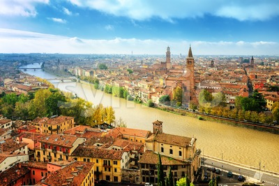 Old town of Verona and the river Adige, Italy Stock Photo