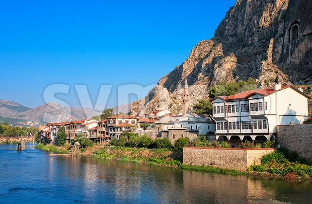 Well preserved old ottoman architecture and Pontus kings tombs in Amasya, central Anatolia, Turkey Stock Photo