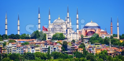 Panoramic view of Istanbul with Blue Mosque and Hagia Sophia cathedral from Marmara Sea, Turkey Stock Photo