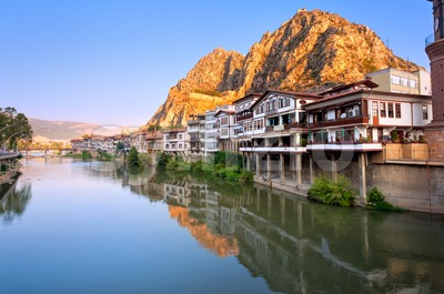 Traditional ottoman half timbered houses in Amasya, Turkey Stock Photo