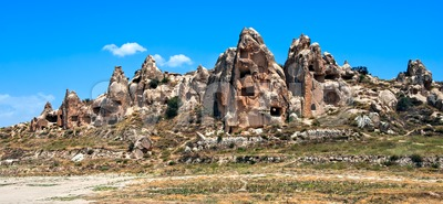 Cave town in Cappadocia, famous tourist destination in central Turkey known for its unique geological landscapes Stock Photo
