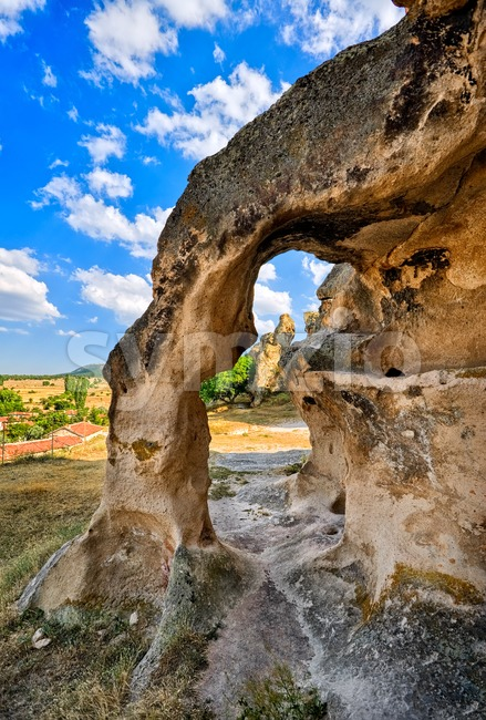 Bizarre stone arch in a sandstone rock formation in Cappadocia, Turkey Stock Photo