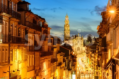 Panorama of Porto with Dos Clerigos cathedral at night, Portugal Stock Photo