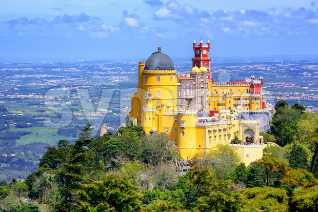 Panoramic view of Pena palace, Sintra, Portugal Stock Photo