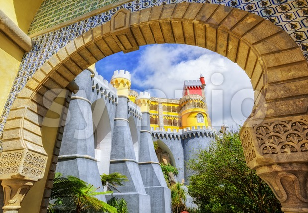 Pena palace, Sintra, Portugal, view through the entrance arch Stock Photo