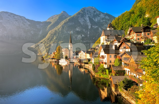 Hallstatt alpine village on a lake in Salzkammergut, Austria Stock Photo