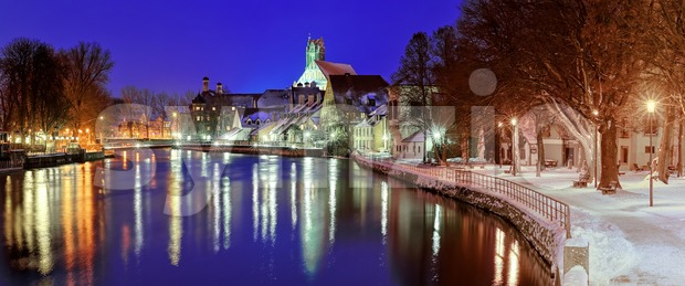 Gothic town Landshut on Isar river by Munich, Bavaria, Germany Stock Photo