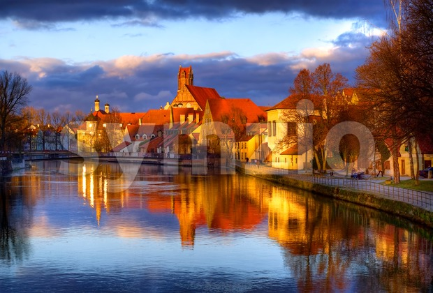Old gothic town Landshut, the former capital of Bavaria, on Isar river, by Munich, Germany Stock Photo