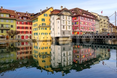 Historic buildings in the old town of Lucerne, Switzerland Stock Photo