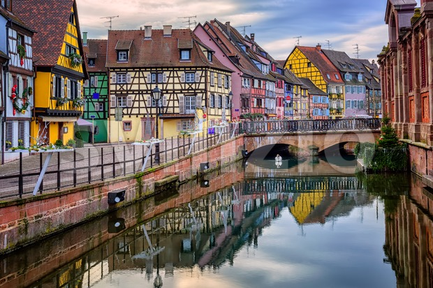 Colorful half-timbered facades in medieval town Colmar, Alsace, France Stock Photo