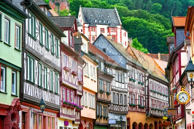 Traditional half-timbered houses in Miltenberg near Frankfurt, Germany Stock Photo